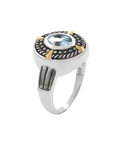 Glitzy Rocks Sterling Silver Blue Topaz Oxidized Ring