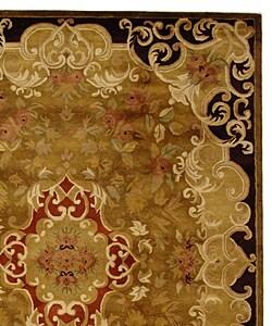 Handmade Classic Juliette Gold Wool Rug (9'6 x 13'6)