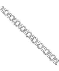 14k White Gold Double Loop Charm Bracelet