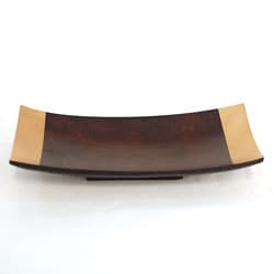 Mango Wood Tray/ Platter Curved Gold Trim