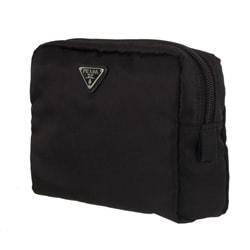 Prada Large Black Nylon Cosmetic Case - 11214368 - Overstock.com ...