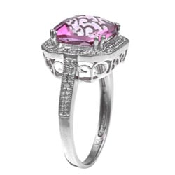 Miadora 10k Gold Pink Topaz and 1/10ct TDW Diamond Ring (I-J, I2-I3)
