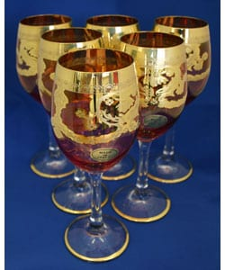 Italian Gold Accented 6-piece Wine Glass Set