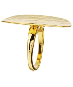 Sterling Essentials 14K Gold over Silver Hammered Ring