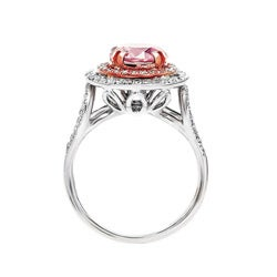 18k White Gold Brilliant-cut Pink Diamond Halo Ring