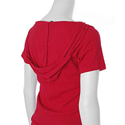 Rosio Women's Plus Size Short-sleeve Ribbed Hoodie