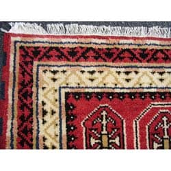 Indo Kazak Hand-knotted Red/ Ivory Rug (3' x 5')