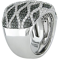 Miadora 18k Gold 2 1/8ct TDW Black and White Diamond Ring (G-H-I, SI)