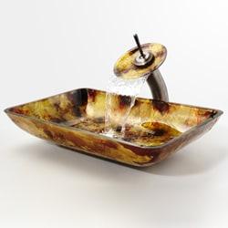 Kraus Amber Rectangular Glass Sink and Waterfall Faucet