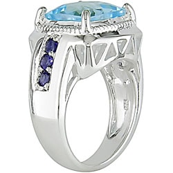 Sterling Silver Blue Topaz and Iolite Ring