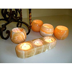 Alabaster Lightstick Candle Holder Set (Egypt)