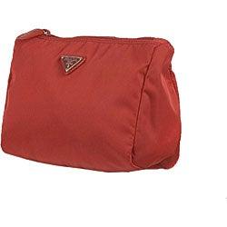 Prada \u0026#39;Vela\u0026#39; Red Small Nylon Cosmetic Case - 11436680 - Overstock ...