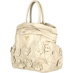 Prada 'Intarsio Flower' Cream Leather Shopping Bag
