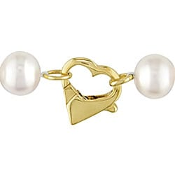 Miadora 14k Gold FW Pearl 3-piece Set with Heart Shape Box
