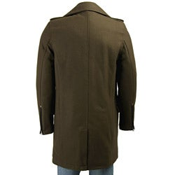 Black Rivet Men's 3/4-length Wool Blend Overcoat