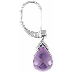 10k White Gold Amethyst and Diamond Drop Earrings
