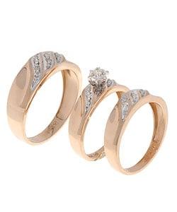 14kt Yellow and White Gold Diamond Wedding Ring Trio