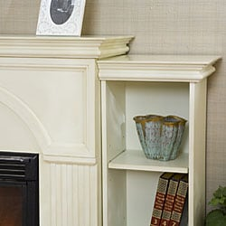Luxemburg White Bookcase/ Electric Fireplace with Remote