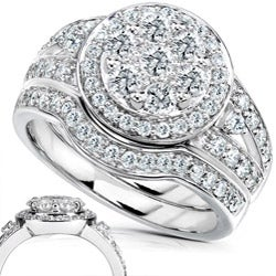 14k Gold 1ct TDW Diamond Bridal Halo Ring Set (G-H, I1-I2)