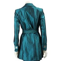 Muse Women's Turquoise Taffeta Trench Jacket