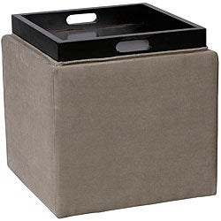 Microfiber Storage Ottoman With Tray Square