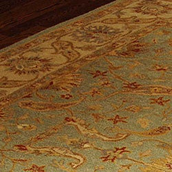 Handmade Antiquities Treasure Teal/ Beige Wool Rug (9'6 x 13'6)
