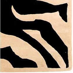 Hand-tufted Zebra Print Wool Rug (5' x 8')