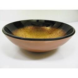 DeNovo Metallic Gold/ Red Glass Vessel Sink