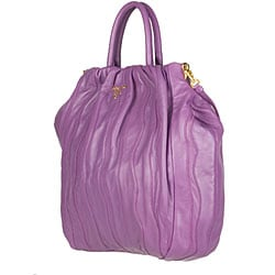 Prada Purple Striped Nappa Leather Bag - 11876848 - Overstock.com ...