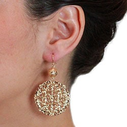 Nexte 14k Goldplated Filigree Ball and Disc Earrings