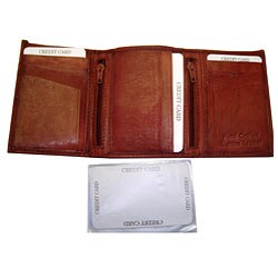 Kozmic Men's Leather Tri-fold Wallet With Two Center Zip Pockets