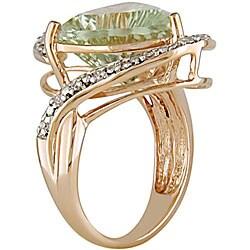 14k Gold Green Amethyst and 1/10ct TDW Diamond Ring