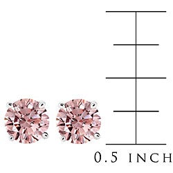 14k White Gold 7/8ct TDW Pink Diamond Stud Earrings (SI)