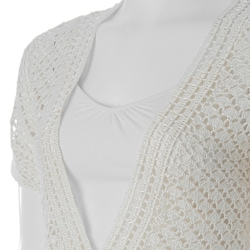 Sangria Women's Open Crochet Short Sleeve Sweater