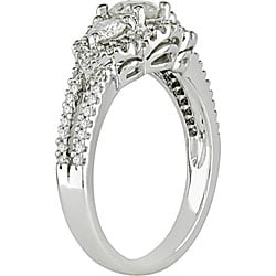 Miadora 14k White Gold 1ct TDW Diamond 3-stone Halo Ring (I-J, I2-I3)