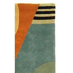 Safavieh Handmade Rodeo Drive Krave Blue/ Rust N.Z. Wool Rug (5' x 8')