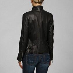 IZOD Women's Plus Size Leather Cycle Jacket