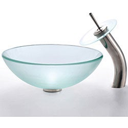 Kraus Frosted Glass Vessel Sink and Waterfall Faucet