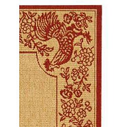 Indoor/ Outdoor Rooster Natural/ Red Rug (2'7 x 5')
