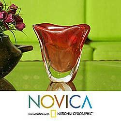 Hand-blown Murano Glass 'Sails at Sunset' Vase (Brazil)