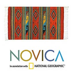 Mexican Zapotec 'Rhombus Fire' Wool Rug (2'6 x 5')