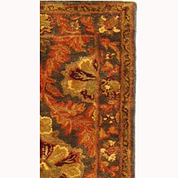 Handmade Kerman Sage/ Gold Wool Runner (2'3 x 8')