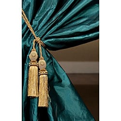 Signature Teal Faux Silk Taffeta 120-inch Curtain Panel