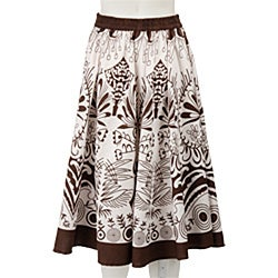 Studio West White/ Brown Allover Print Circle Skirt