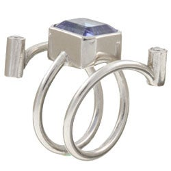 18k White Gold Faux Sapphire and 1/6ct TDW Diamond Ring (Size 7)