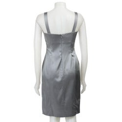 Calvin Klein Women's Silver Stretch Satin Sheath Dress
