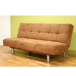 Brown Microfiber Futon Sofa Bed