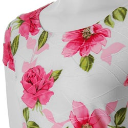 Brittany Black Junior's Stretch-knit Pink Floral-print Top