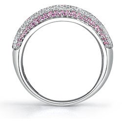 18k Gold 1 1/2ct TDW Diamond/ Pink Sapphire Ring (G, VS2) (Size 7.5)