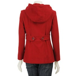 AK Anne Klein Women's Petite Hooded Wool Peacoat